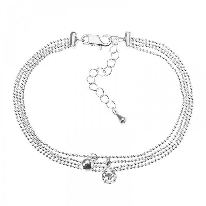 f44885c20478 JASSY Platinum Plated Rhinestone Multilayer Simple Foot Chain Tobillera Joyería  fina para Mujer