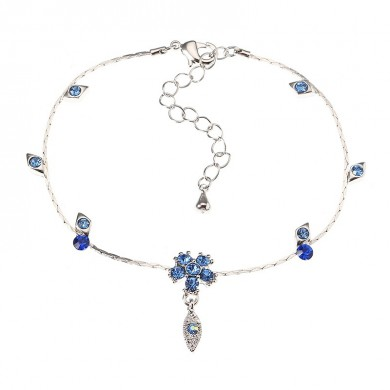 JASSY Fine Anklet Platinum Plated Capri Blue Rhinestone Flower Leaf Pendant Jewelry for Women