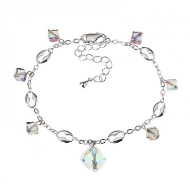 JASSY Elegant Platinum Plated Colorful Crystal Cube Pendant Anklet Anallergic Best Gift for Women