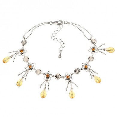 JASSY Luxury Anklet Bracelet for Women Platinum Plated Golden Gemstone Flower Light Topaz Pendant