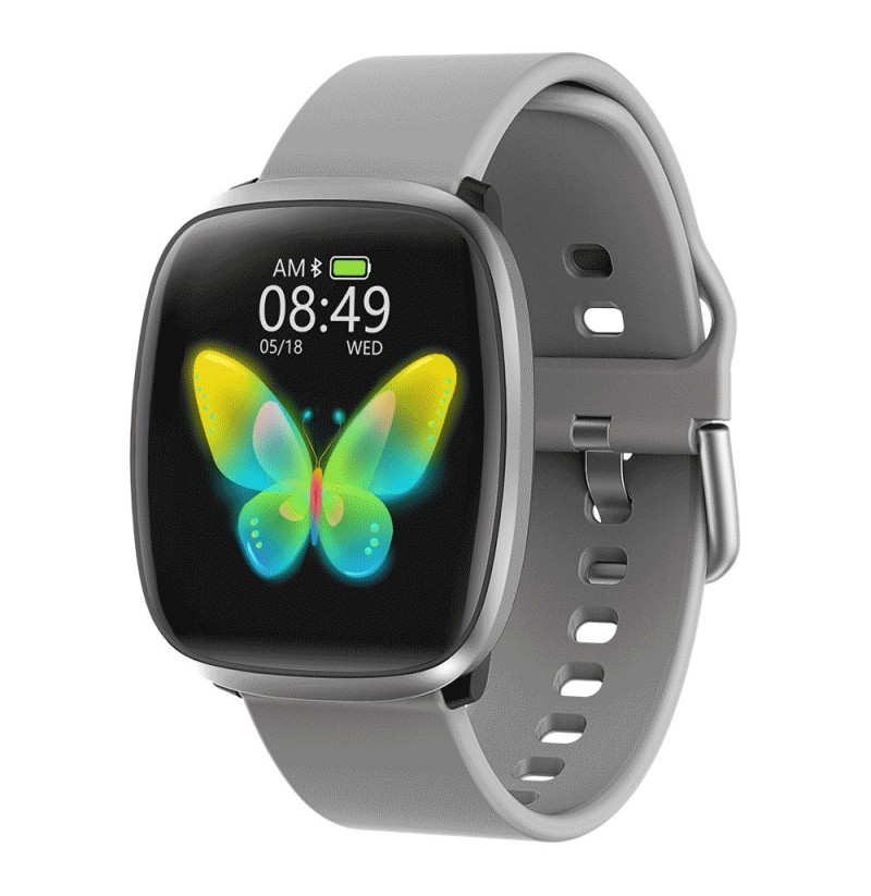 Bakeey E102 1.3inch Full-touch Screen Heart Rate Blood Pressure O2 Monitor One-key Measurement Multi-sport Modes Weather Push Sm (Color: Grey) фото