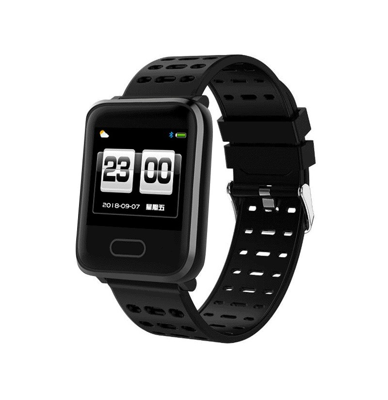 Bakeey A7 Weather IP67 Waterproof Heart Rate Blood Pressure Oxygen Monitor Colorful Band Smart Watch (Color: Black) фото