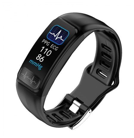 Bakeey P12 ECG+PPG Blood Pressure O2 Report Message Call Vibration Weather Display Smart Watch Band