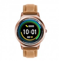 Bakeey H6+ 1.3inch Full-touch Circle Screen Real-time Heart Rate Blood Pressure Monitor Long Standby Leather Smart Watch