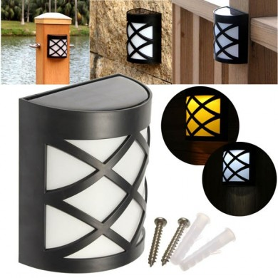 Solar Power 6 LED Garden Fence Lamp Wall-mounted Courtyard Lawn Decor Wall Light