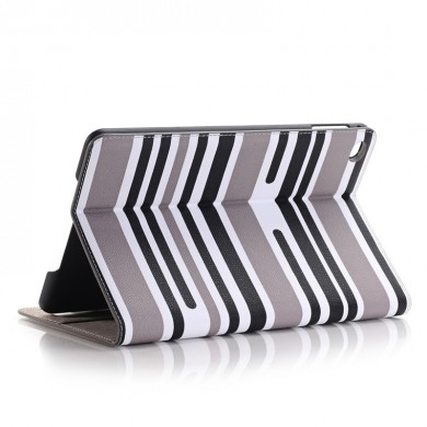 Mixing Stripes Plate Shell Flip PU Leather Case Cover For iPad Mini 4