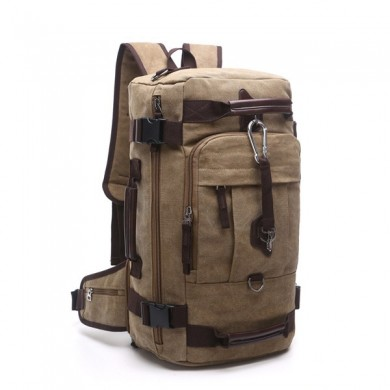 Men Multifunctional Large Capacity Canvas Retro Travel Backpack Crossbody Bag