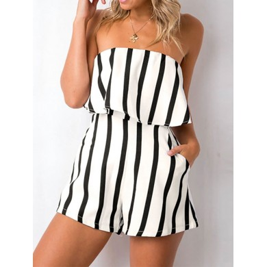 Women Casual Stripe Off-shoulder Jumpsuit with Pockets