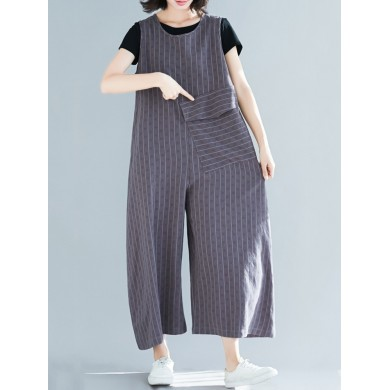 Women Casual Stripe Sleeveless Pocket Overall Jumpsuit