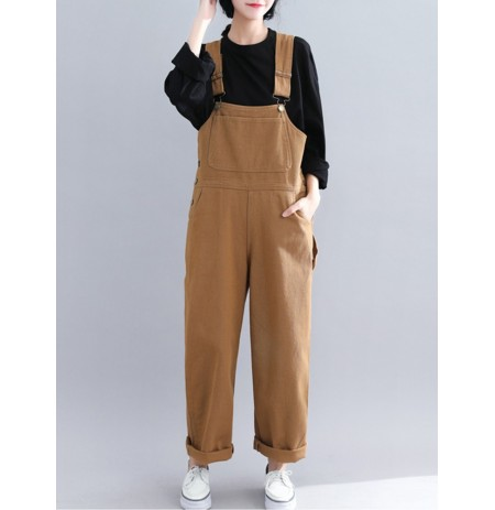 Casual Loose Straps Button Wide Legged Women Jumpsuit