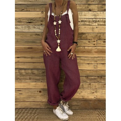 Women Straps Solid Color Overalls Jumpsuit with Pockets