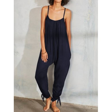 Women Solid Color Spaghetti Straps Pleated Harem Jumpsuit