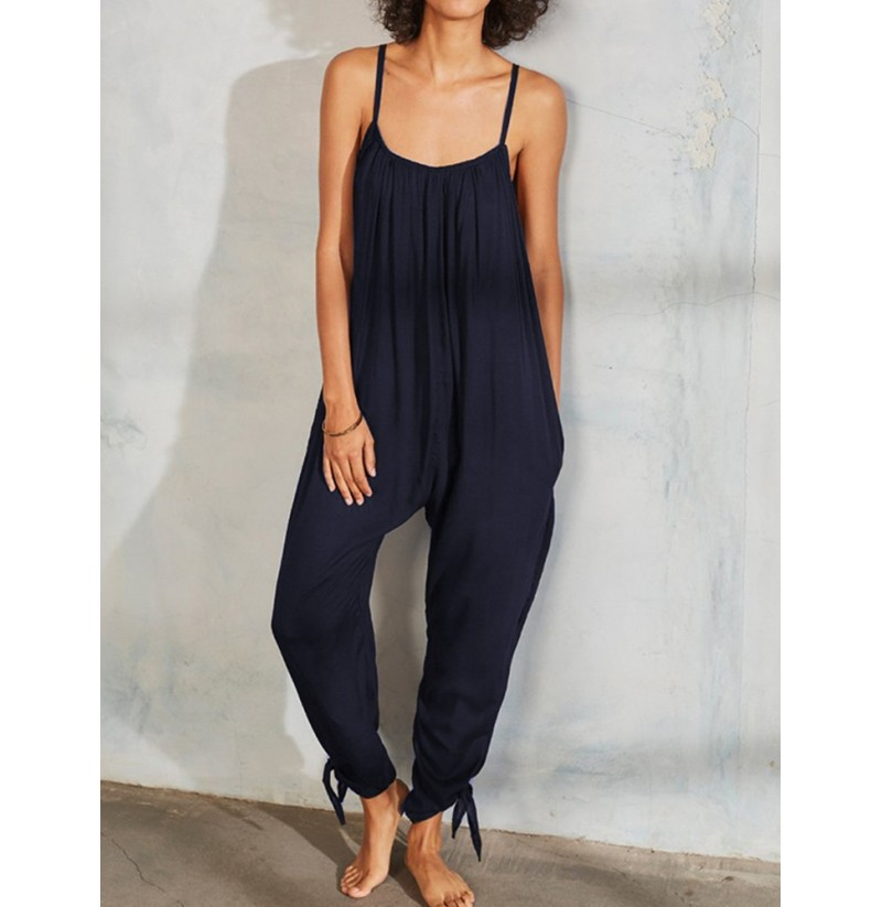 Women Solid Color Spaghetti Straps Pleated Harem Jumpsuit (Color: Navy, Size: 6) фото