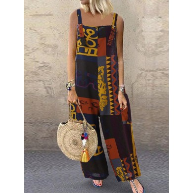 Print Kontrastfarbe Splice Pocket Sling Wide Leg Jumpsuit
