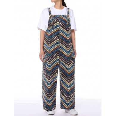 Corduroy Striped Print Plus Size Jumpsuit with Pockets