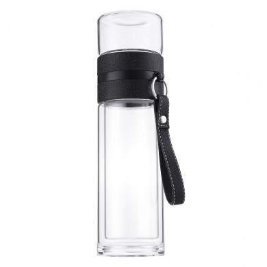 320ML Double-layer Glass Tea Tumbler Water Bottle with Filter Infuser Home Office Mug