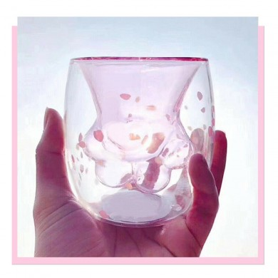 Cute Glass Bear Cup Cat Claw Cup Double Wall Insulated Mug Coffee Milk Tea Transparent Cup Birthday Gifts