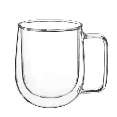 300ML Glass Coffee Té Taza resistente al calor de doble capa Manija de vidrio Doble pared