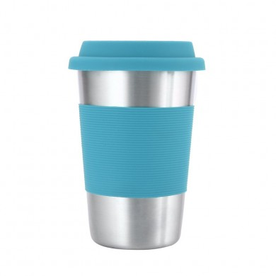 Honana Creative Coffee Mugs And Cup 304 Stainless Steel Mug with Silicone Case and Lid for Car Cups 500ml Water Bottle