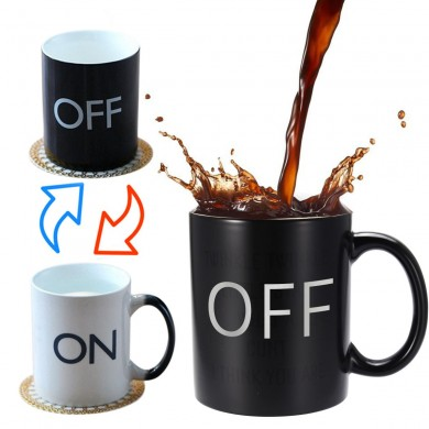OFF-ON Changing Mug Magical Chameleon Coffee Color Changing Cup Temperature Sensing Novelty Gift 325ml
