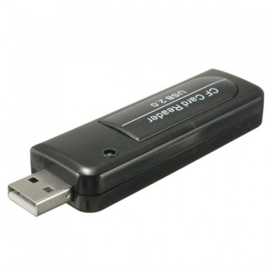 Black USB2.0 Single Slot Compact Flash CF I II MD Memory Card Reader Adapter