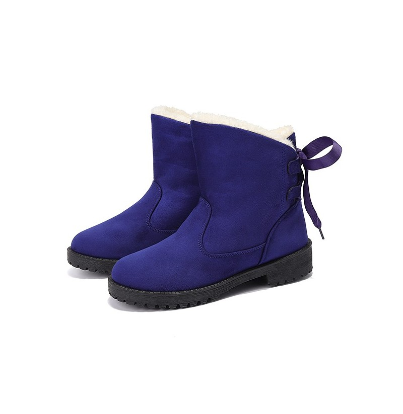 US Size 5-12 Winter Cotton Boots Fur Lining Ankle Snow Boots (Color: Blue, Size(US): 5) фото