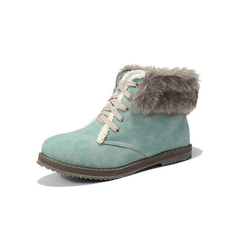 Women Winter Snow Boots Fur Lining Lace Up Ankle Boots US Size 5-12 (Color: Beige, Size(US): 9) фото