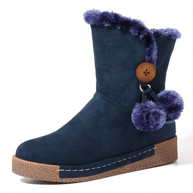LOSTISY Mujer Zipper Botas Plush Fur Warm Snow Botas