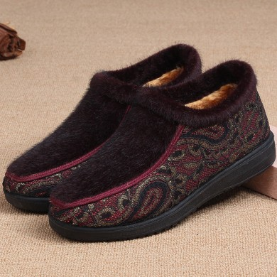 Women Casual Shoes Pattern Slip On Snow Boots