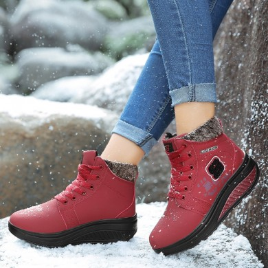 Mulheres Comfy Warm Suede Lace Up Snow Ankle Boots