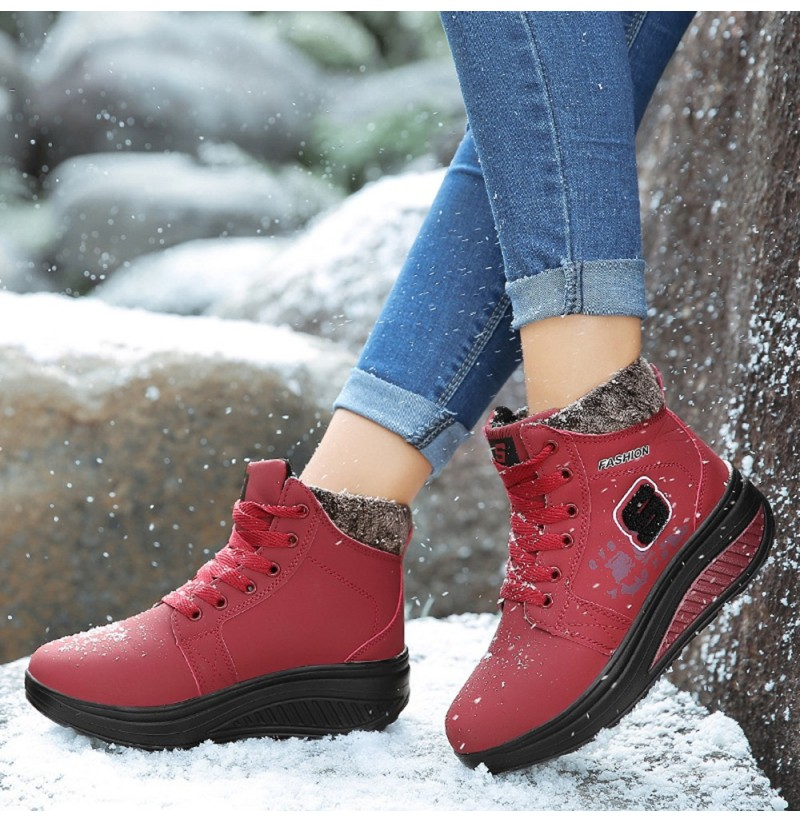 Women Comfy Warm Suede Lace Up Snow Ankle Boots (Color: Red, Size(US): 8) фото