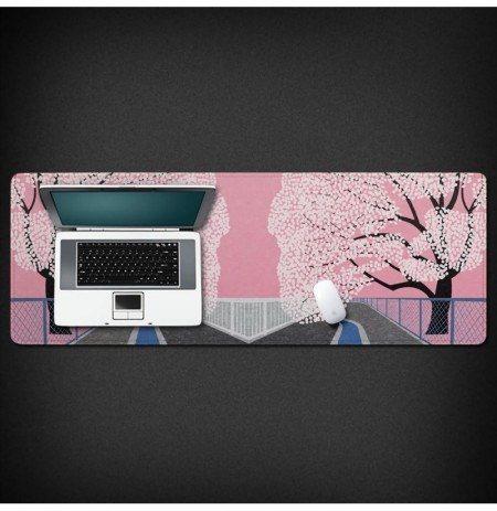 Flower Blossom 800*300*3mm  Large Non-slip Overlock Mouse Pad Rubber Desktop Mat