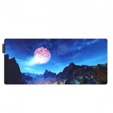 The Snow Mountain USB Wired RGB Colorful Backlit LED Mouse Pad for Gaming Mouse E-Sport