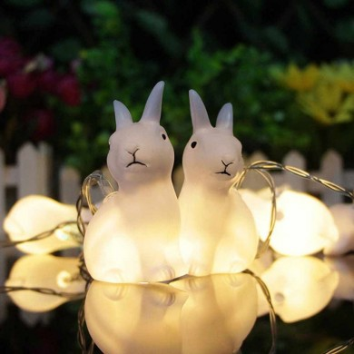 1.65M 10LEDs Lovely Rabbit Battery Powered String Night Lights for Christmas Festival Home Decorations Indoor & Outdoor Lamp Str