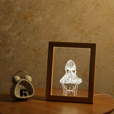 KCASA FL-720 3D Photo Frame Illuminative LED Night Light Girl's Back Desktop Decorative USB Lamp For Bedroom Art Decor Christmas