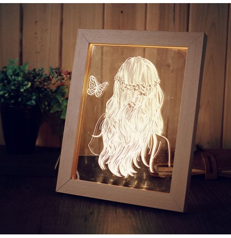 KCASA FL-716 3D Photo Frame Illuminative LED Night Light Wooden Girl Desktop Decorative USB Lamp For Bedroom Art Decor Christmas