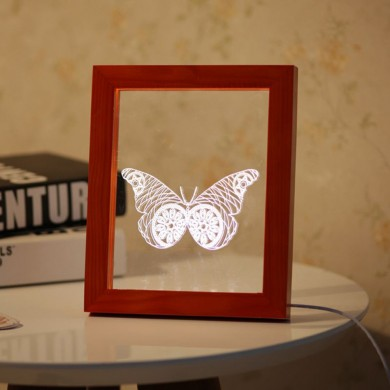 KCASA FL-717 3D Photo Frame Illuminative LED Night Light Wooden Butterfly Desktop Decorative USB Lamp For Bedroom Art Decor Chri