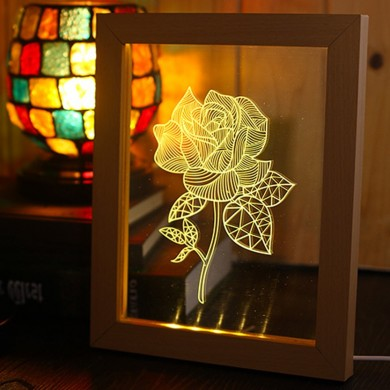KCASA FL-731 3D Photo Frame Illuminative LED Night Light Wooden Flower Desktop Decorative USB Lamp for Bedroom Art Decor Christm