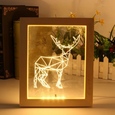 KCASA FL-722 3D Photo Frame Illuminative LED Night Light Wooden Elk Desktop Decorative USB Lamp For Bedroom Art Decor Christmas
