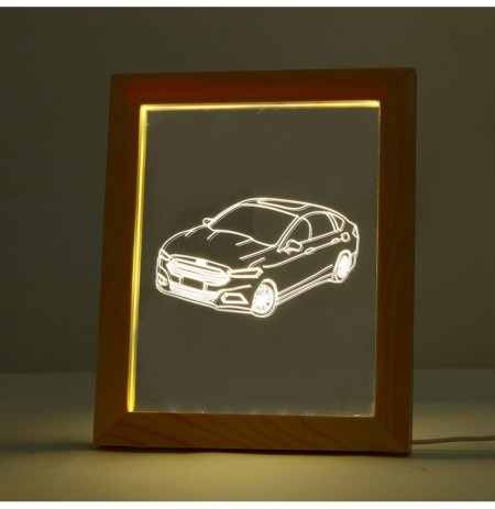KCASA FL-730 3D Photo Frame Illuminative LED Night Light Wooden Car Desktop Decorative USB Lamp for Bedroom Art Decor Christmas