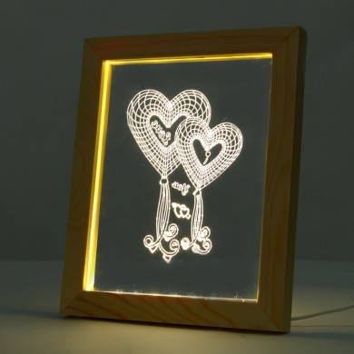 KCASA FL-724 3D Photo Frame Illuminative LED Night Light Wooden Heart Desktop Decorative USB Lamp For Bedroom Art Decor Christma