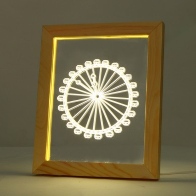 KCASA FL-719 3D Photo Frame Illuminative LED Night Light Ferris Wheel Pattern Desktop Decorative USB Lamp For Bedroom Art Decor