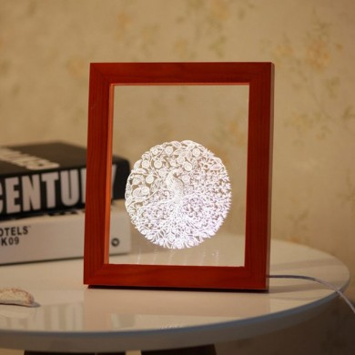 KCASA FL-718 3D Photo Frame Illuminative LED Night Light Wooden Auspicious Pattern Desktop Decorative USB Lamp For Bedroom Art D