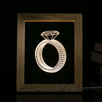 KCASA FL-728 3D Photo Frame Illuminative LED Night Light Wooden Ring Desktop Decorative USB Lamp for Bedroom Art Decor Christmas