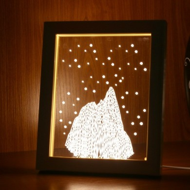 KCASA FL-725 3D Photo Frame Illuminative LED Night Light Wooden Snow Mountain Desktop Decorative USB Lamp For Bedroom Art Decor