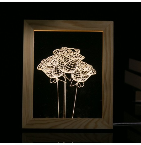 KCASA FL-723 3D Photo Frame Illuminative LED Night Light Wooden Rose Desktop Decorative USB Lamp For Bedroom Art Decor Christmas