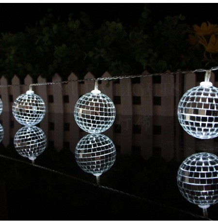 1.65M 10 Leds Mirror Ball Light LED Light String Home Holiday Decor Disco Lights Party Hotel Ballroom Decorations String Lights