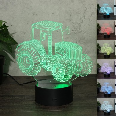 Tractor Drag Racing 3D Night Light Colorful LED USB Lamp Touch Remote Controller