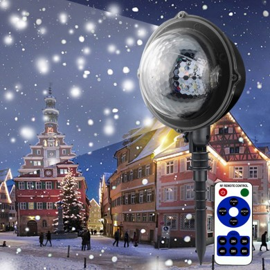 5W Moving Snowflake Snow LED Mini Projector Light Adjustable Waterproof Lamp