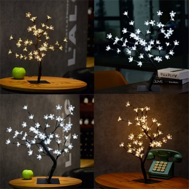 45cm LED Cherry Blossom Bonsai Sakura Tree with 72 LED Fairy Light Table Lamp